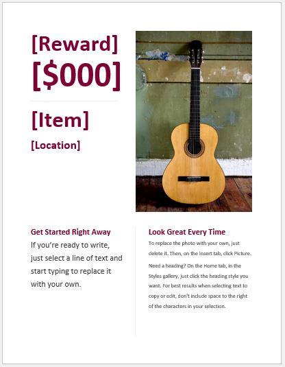 Reward Flyer Template