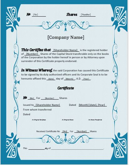 Stock Certificate Template for MS Word