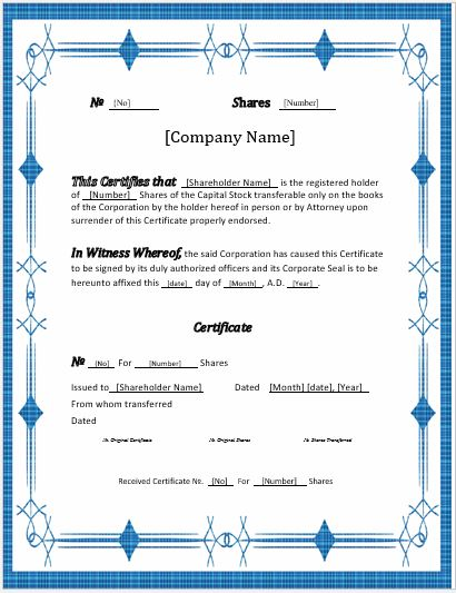 Stock Certificates -2018 Templates For Ms Word | Word & Excel