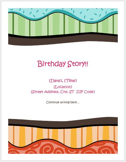 Birthday Storyboard Template