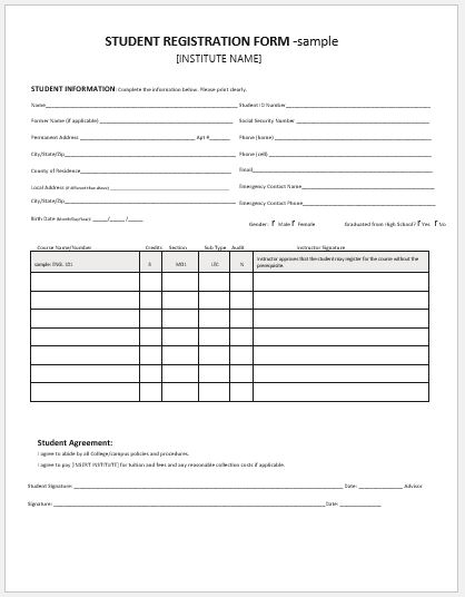 Student Registration Form  Enrollment Form Format
