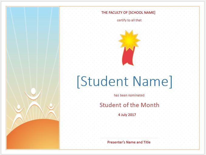 Student of the Month Award Certificate