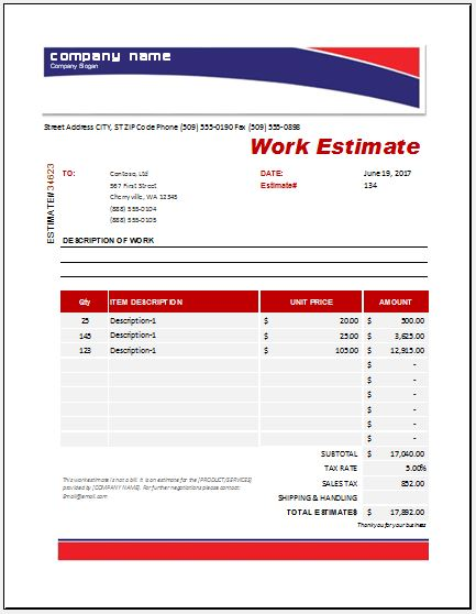 Work Estimate Template. This Template Here Allows You To Present