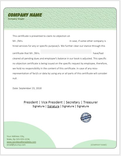 No Objection Certificate  No Objection Certificate Template
