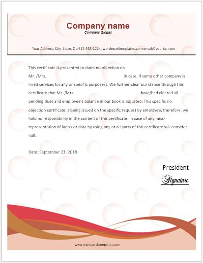 No Objection Certificate Sample