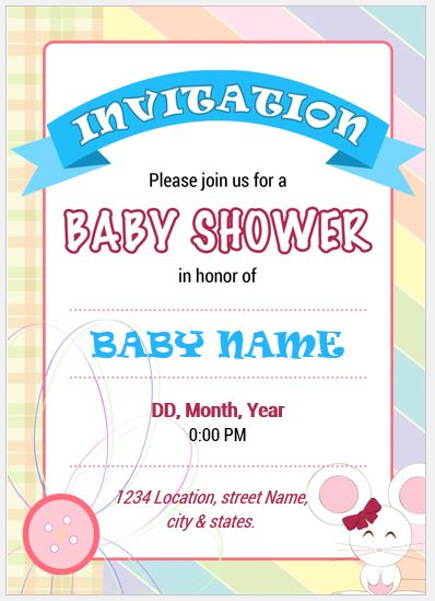 Baby Shower Invitation Cards For Ms Word Word Excel