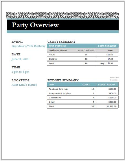 Birthday Party Arrangement Checklist For Excel | Word & Excel