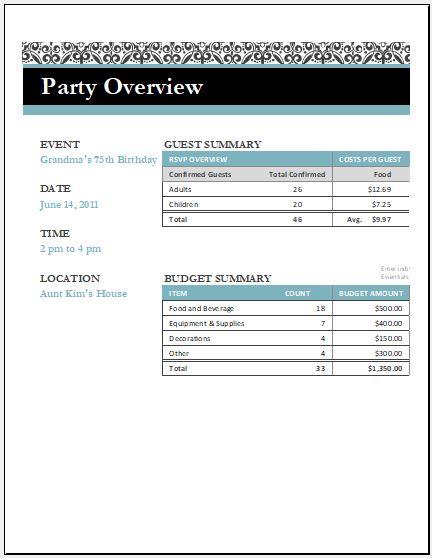 Birthday Party Arrangement Checklist Template