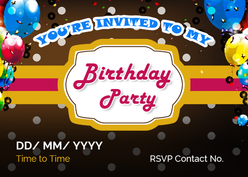 birthday party invitation cards for ms word