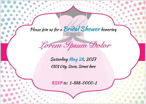 Bridal Shower Invitation Card Template for MS Word