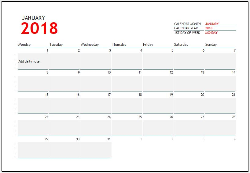 2018 Calendar Template for MS Excel