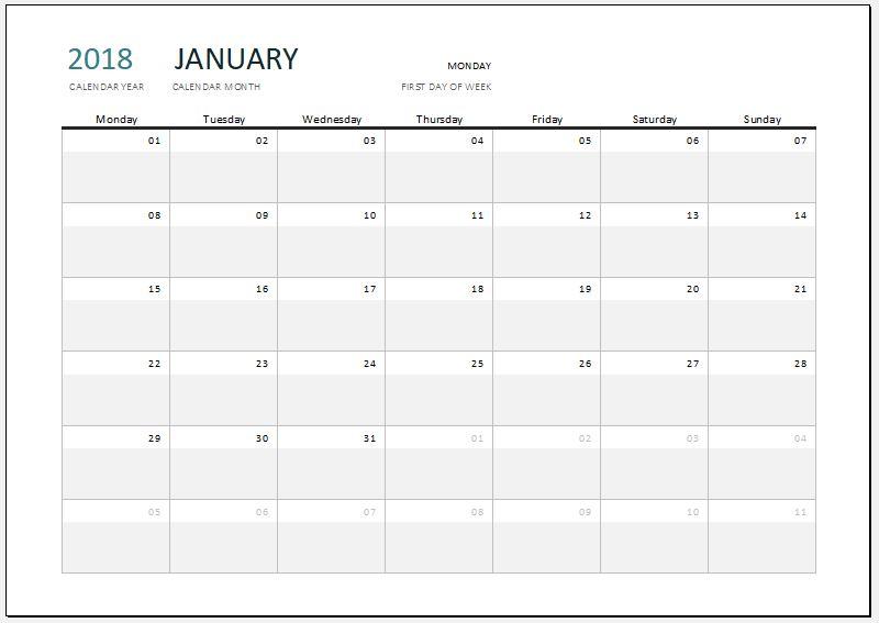 2018 Calendar for MS Excel