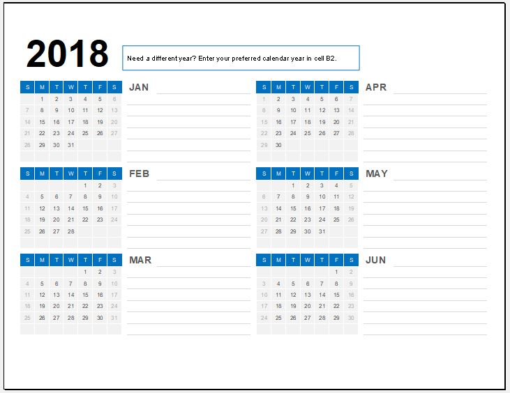 Semi Year 2018 Calendar for MS Excel