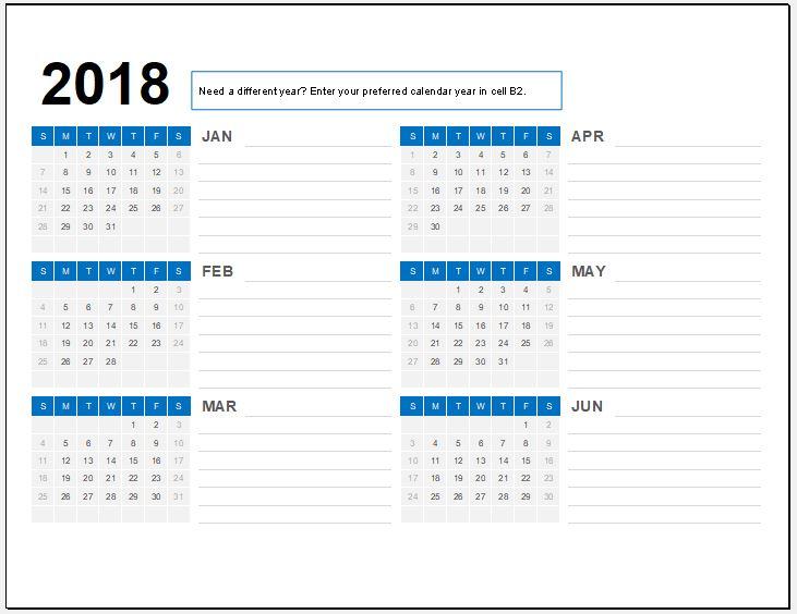 Semi Year 2018 Calendar for MS Excel