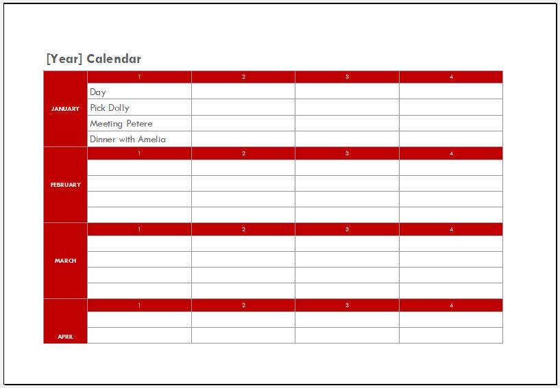 2018 calendar for Excel