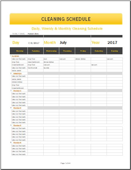 Daily weekly monthly cleaning schedule template for ms for Janitorial schedule template