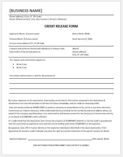 Credit Release Form Templates For Ms Word Word Excel Templates