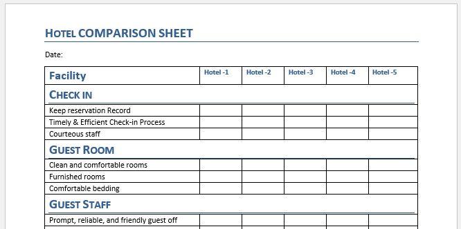 Hotel comparison sheet