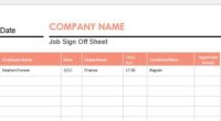 Job Sign off Sheet