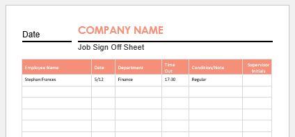 Job Sign off Sheet