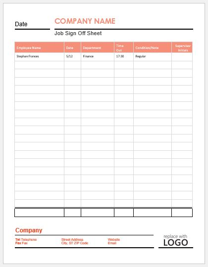 Job Sign Off Sheet Template