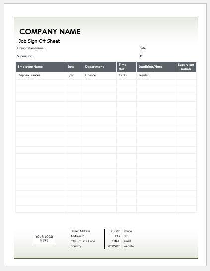 Job Sign Off Sheet Template