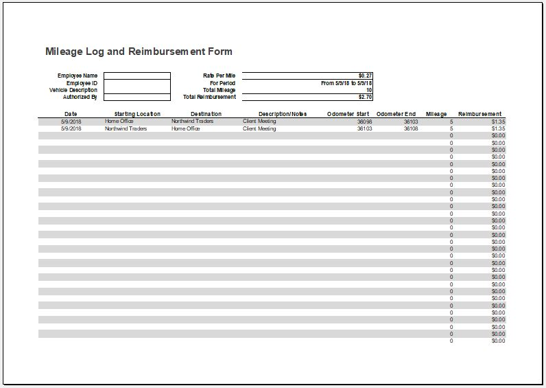 Mileage Log with Reimbursement Form & Expense Report
