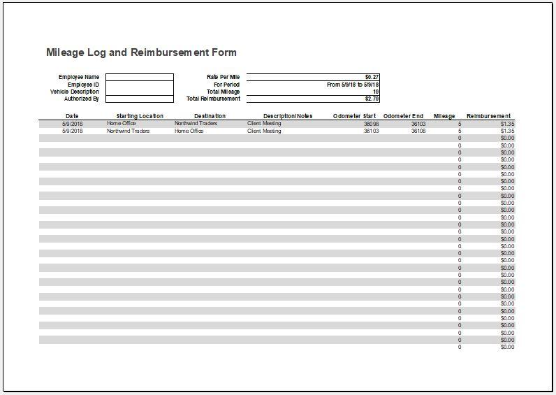 Mileage Log with Reimbursement Form & Expense Report