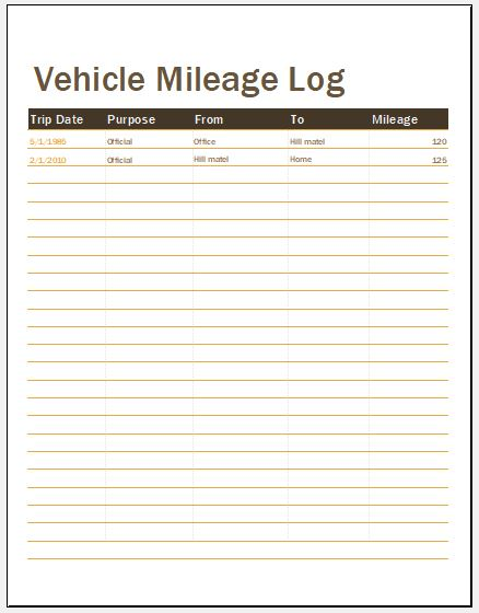 15 Vehicle Mileage Log Templates for MS Word & Excel ...