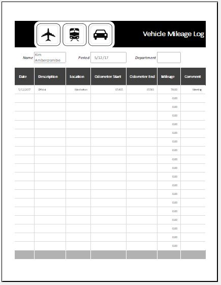 MS Excel Vehicle Mileage Log Template | Word & Excel Templates