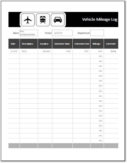 Ms excel vehicle mileage log template word excel templates vehicle mileage log template maxwellsz