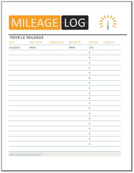 Vehicle Mileage Log Template for MS Excel