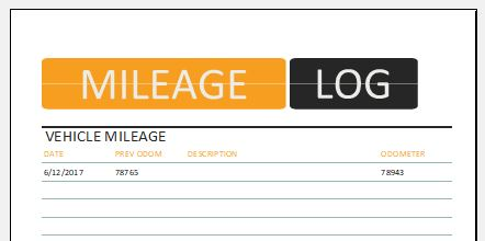 Vehicle Mileage Log