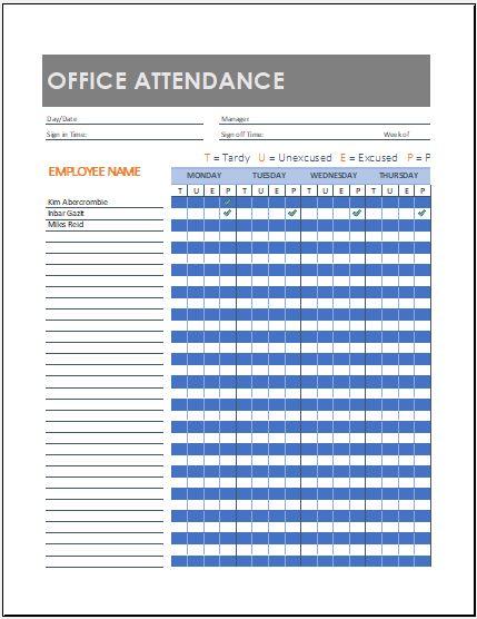 Office Attendance Sheet Template