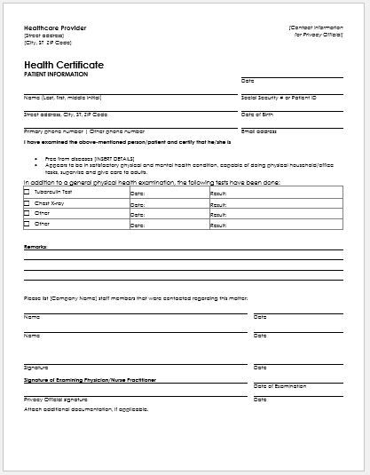 Satisfactory Health Condition Certificate