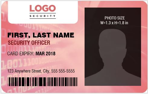 security guard officer photo id badges for ms word word. Black Bedroom Furniture Sets. Home Design Ideas