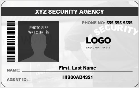 security guard officer photo id badges for ms word word excel templates. Black Bedroom Furniture Sets. Home Design Ideas