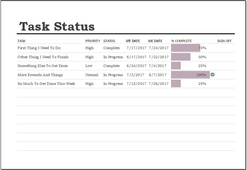 Task Completion Status Sheet