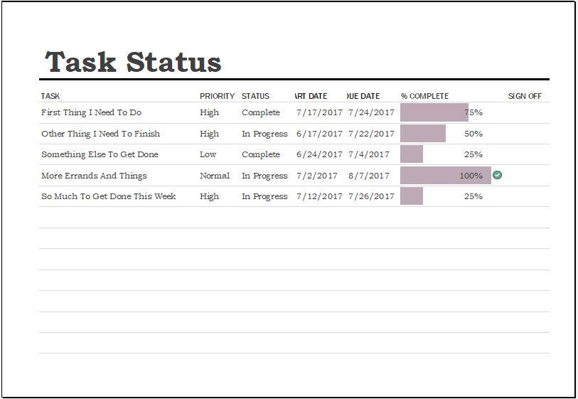 Task Completion Status Sheet