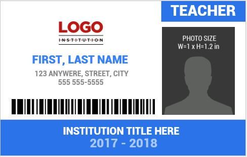 Teacher Photo ID Badge Template