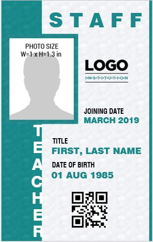 Teacher Photo Id Badge Templates For Ms Word Word Amp Excel Templates