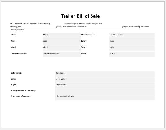 trailer bill of sale templates for ms word