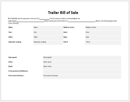 Trailer Bill of Sale Template