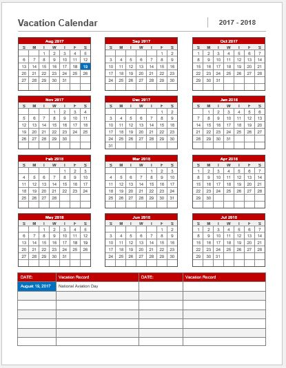Vacation Calendar Template 2017-18 For Ms Word | Word & Excel