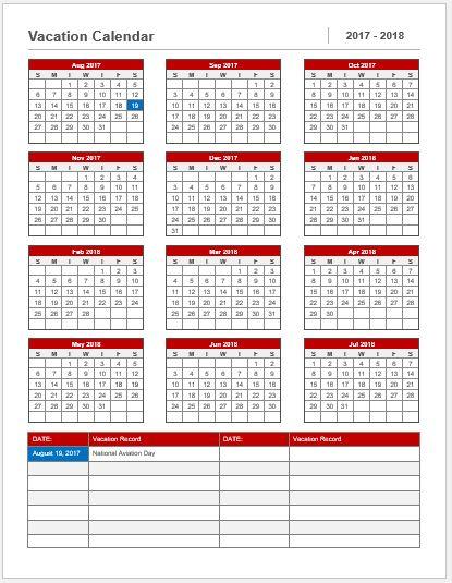 Vacation Calendar Template 2017-18