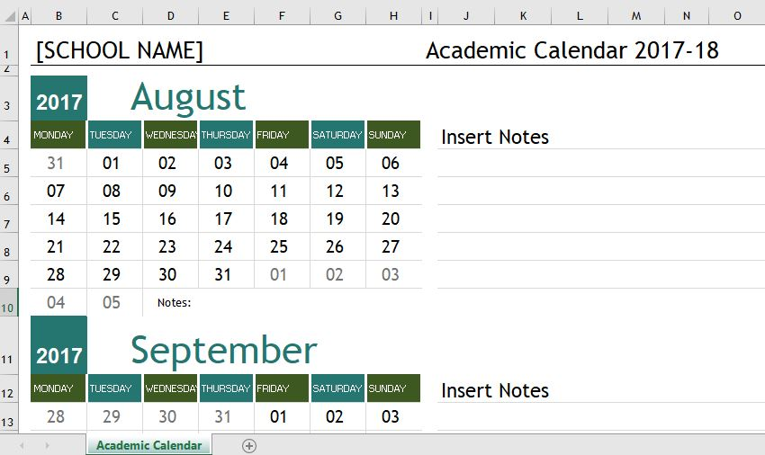 Academic Calendar Templates  For Ms Excel  Word  Excel