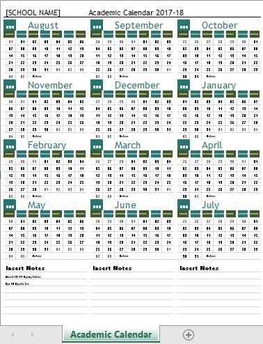 2017-18 Academic Calendar Template