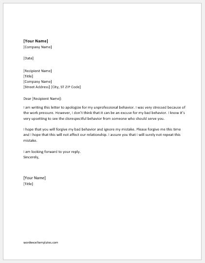 Apology Letter For Unprofessional Behavior Word Amp Excel