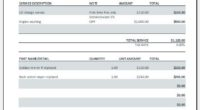 Auto repair receipt template