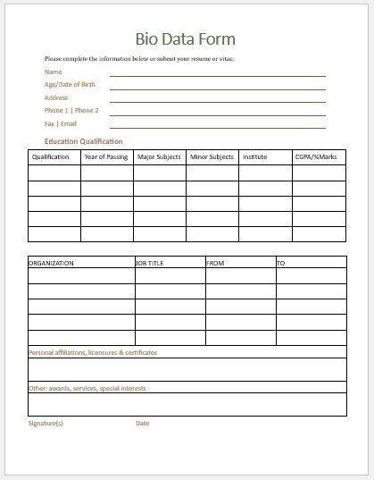 Bio Data Form Template